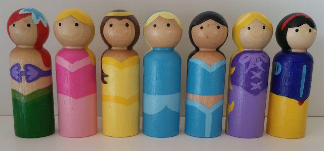 Wooden Peg Doll Princesses