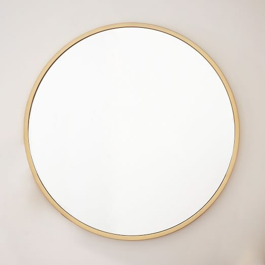 """This one is no longer available. 48"""" Metal Framed Oversized Round Mirror - Antique Brass 
