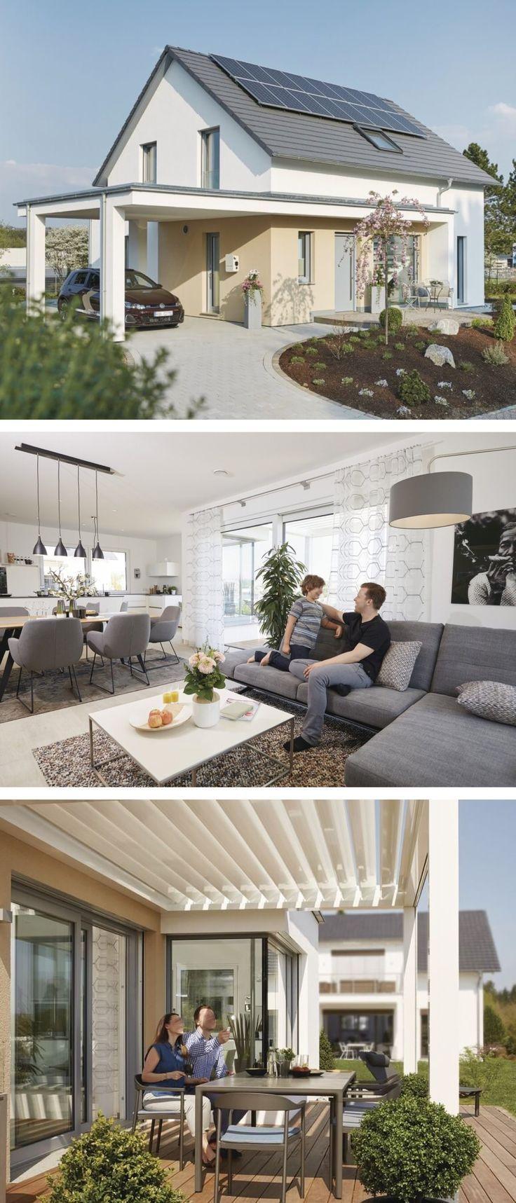 Modernes Satteldach Haus Mit Carport Pergola Anbau