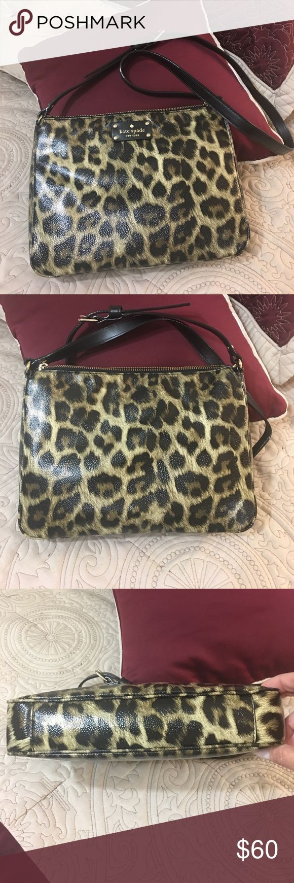 Kate Spade Leopard print bag This awesome bag is in excellent condition. I may have carried it twice. It is clean inside and out. The cross body strap is adjustable.  Scoop it up - it's a beauty! kate spade Bags Crossbody Bags