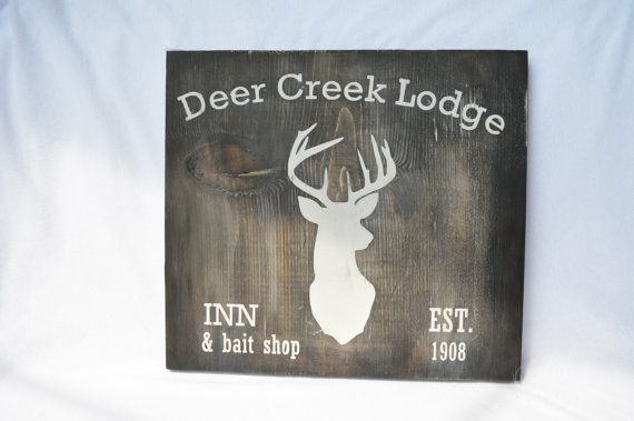 Rustic wood sign  Deer creek lodge deer head by RusticBabyBoutique,