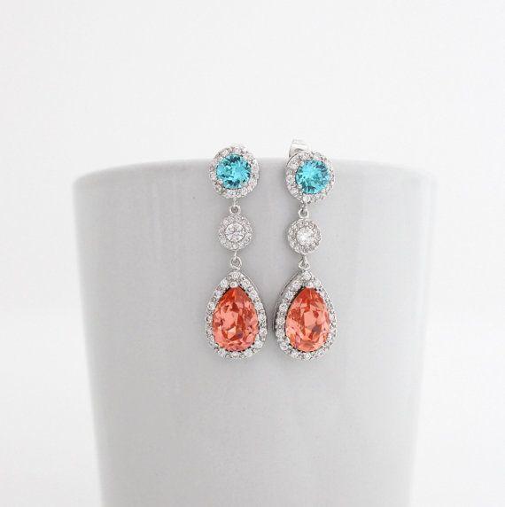 Aqua and Coral Swarovski Bridesmaid Earrings Bridal Cubic Zirconia Long Crystal Teardrop Earrings Beach Wedding Aquamarine Jewelry  Gifts