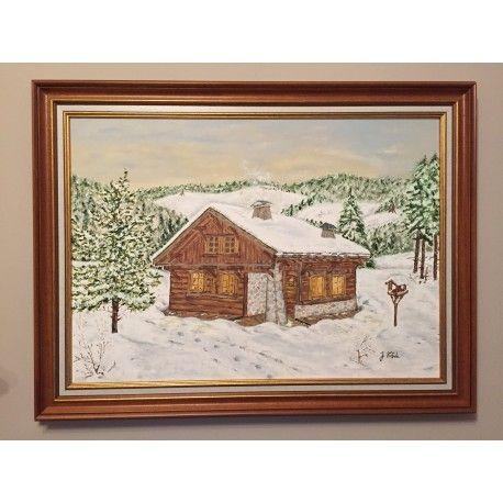 """""""Zima""""  Olej na płótnie oprawiony w drewnianą ramę.  Wymiary płótna : 50cm x 70cm.  Wymiary z ramą : 63,5cm x 83,5cm.  Obraz malowany ręcznie wysokiej jakości farbami, zabezpieczony werniksem."""