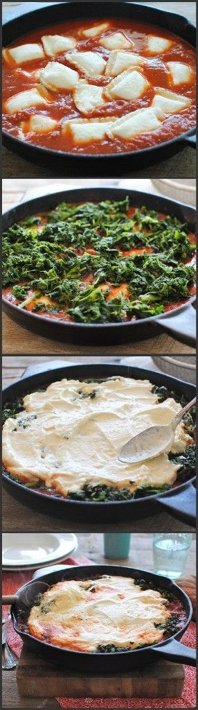 yum! Ravioli Skillet Lasagna (I would use low-fat ricotta)