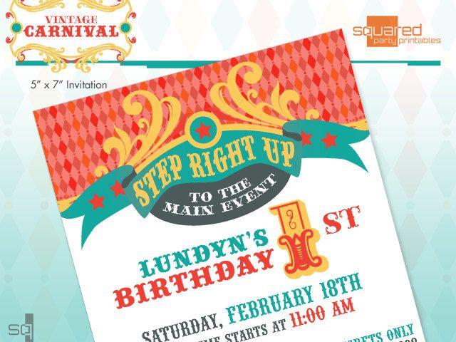 Vintage Carnival Circus Printable Birthday Party Invitation