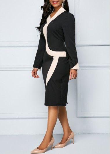 0e1d4417 Color Block Long Sleeve Back Slit Sheath Dress | modlily.com - USD $28.82