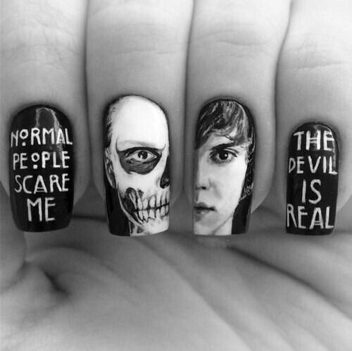 American Horror Story Nail Art #tate #normalpeoplescareme