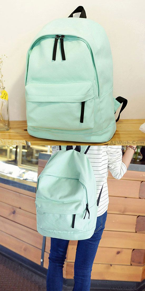 Fresh Pure Color Solid Rucksack School Bag For Girl Canvas Backpacks is so cute! #pure #green #fresh #backpack #bag #school #college #student #girl #travel #rucksack