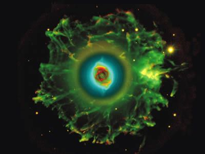 The Cat's Eye Nebula (NGC 6543) is a planetary nebula in the constellation of Draco. Structurally, it is one of the most complex nebulae known, with high-resolution Hubble Space Telescope observations revealing remarkable structures such as knots, jets and sinewy arc-like features. It was discovered by William Herschel on February 15, 1786, and was the first planetary nebula whose spectrum was investigated, by the English amateur astronomer William Huggins in 1864.