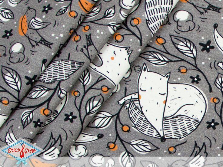 Kinderstoffe - Jersey Grey Fox - grau Eigenproduktion Ökotex - ein Designerstück von StickandStyle bei DaWanda