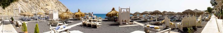 Perissa Beach, Santorini - Greece. Very nice infrastructure at the beach