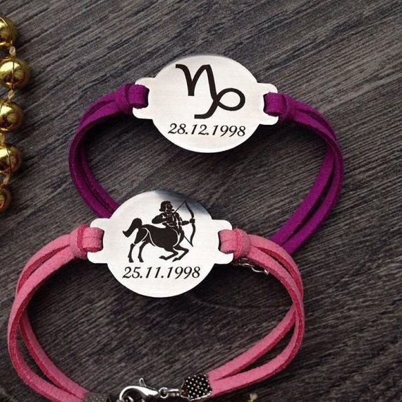 Custom Leather Bracelet, Engraved Leather Bracelet, Personalized Leather Bracelet, Customized Leather Bracelet, Zodiac Signs, Best Gift