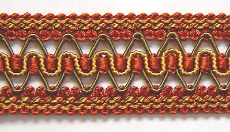 """1.5"""" Gimp Trim Rust Red Olive Green Rust Gold match Cord, tassel fringe, bullion, scoll gimp, single tassel, brush fringe, rosette, braid by BestTrims on Etsy https://www.etsy.com/listing/384661882/15-gimp-trim-rust-red-olive-green-rust"""