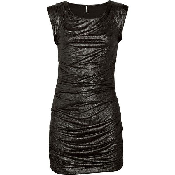 Ivli draped metallic mini dress IRO (92.800 CLP) ❤ liked on Polyvore featuring dresses, black, short dress, vestidos, women, ruched dress, going out dresses, metallic dress, mini dress and metallic mini dress