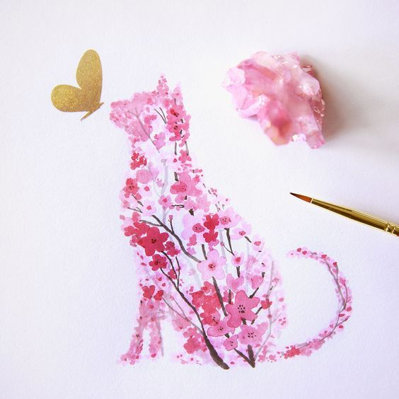 Enchanting Animal Silhouettes Shaped with Painted Cherry Blossoms