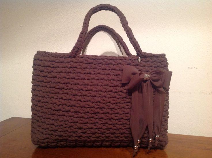 Borsa piccola tulle marrone #bag #borsa #brown #fettuccia
