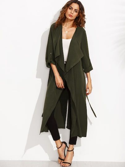 d7b4119db1 SHEIN Rolled Up Sleeve Split Back Self Tie Coat coat,womens winter  coats,coats,winter coats,coats and jackets,coats for women,winter jackets  for women ...