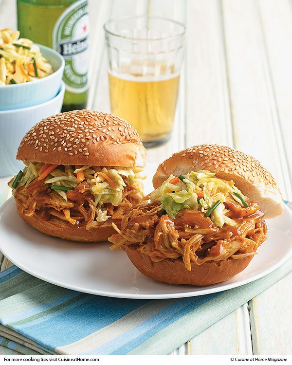 Barbecue Pulled-Turkey Sandwiches Recipe — Dishmaps