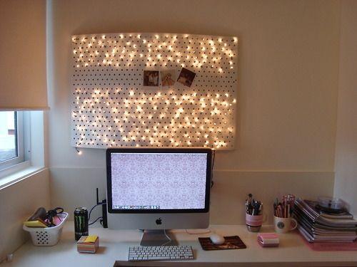 dorm room lighting ideas. christmas lights in pegboard dorm room lighting ideas