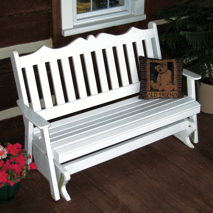 A & L Furniture Yellow Pine Royal English Deluxe Outdoor Bench Glider | from hayneedle.com