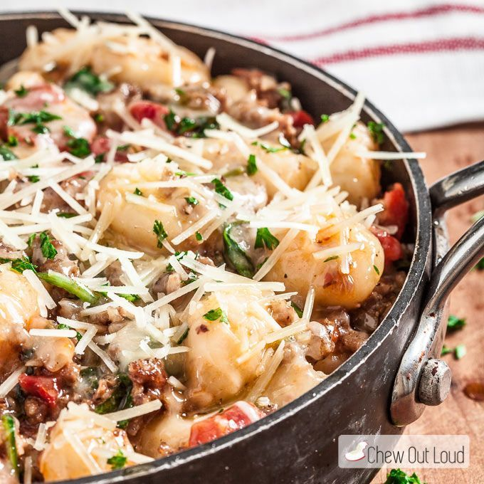 This One-Pan Gnocchi with Sausage and Spinach is light, fluffy, and full of delicious flavor! It takes only 20 minutes; yummy and fast!