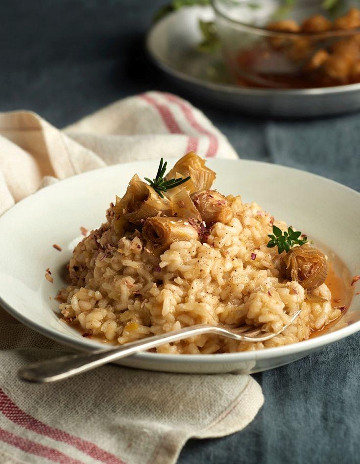 #Risotto con alcachofas glaseadas #parmesano #arroz #italia