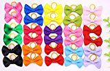 Yagopet 20pcs New Dog Hair Bows Topknot Solid Small Bowknot with Rubber Bands Top Quality Pet Grooming Products Mix Pure Colors Pet Hair Bows Dog Hair Accessories