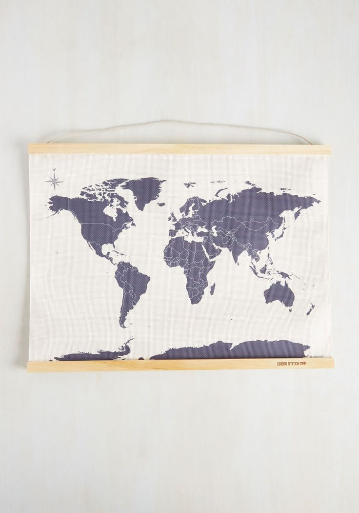 Across-Stitch the World Map. You've been everywhere from New York to New…