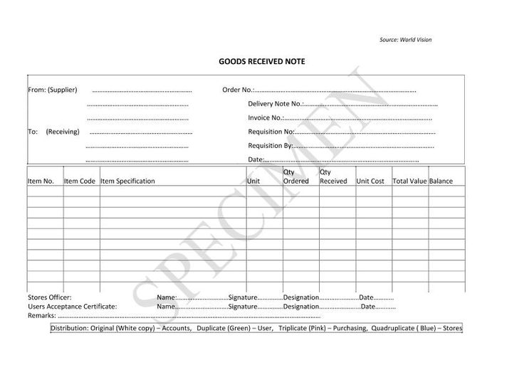 Itemized Receipt Form Templates Pinterest Template   Goods Received Note  Format  Goods Received Note Format