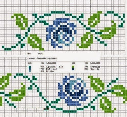 Punto croce - Schemi Gratis e Tutorial: Raccolta di bordi a tema rose