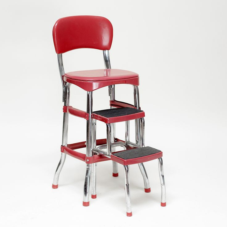 red step stool chrome kitchen chair folding with seat wood