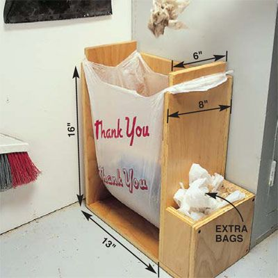 DIY Tip of the Day: Grocery Bag Holder-Opener. Take note of the convenient little steel stands that home centers had at their checkout counters to hold plastic bags open while the clerks packed in the goods. You can easily build your own plywood version, complete with a storage box on the side for replacement bags. Build several—one for the garage, the kitchen, the RV, the shop and even the ice-fishing house!
