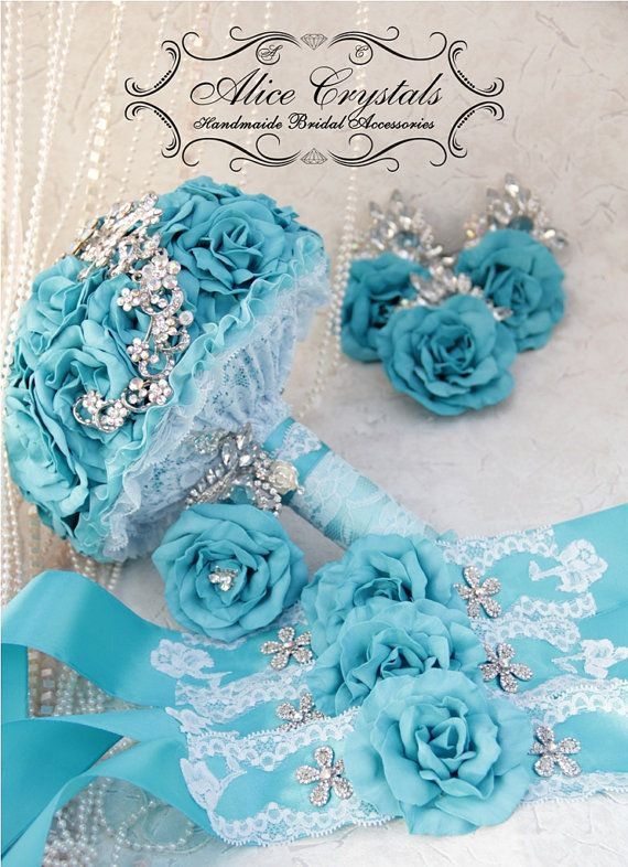Brooch Bouquet turquoise  Bouquet rose wedding by AliceCrystals, $40.00