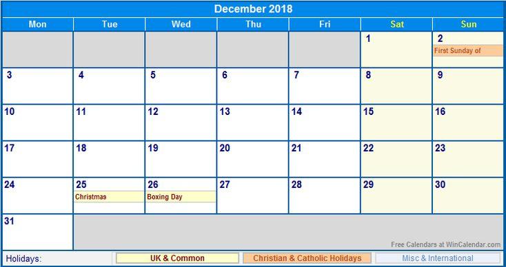 December 2018 Calendar With Holidays USA UK Canada India December