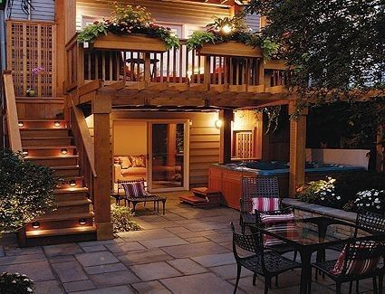 Second floor deck with stairs