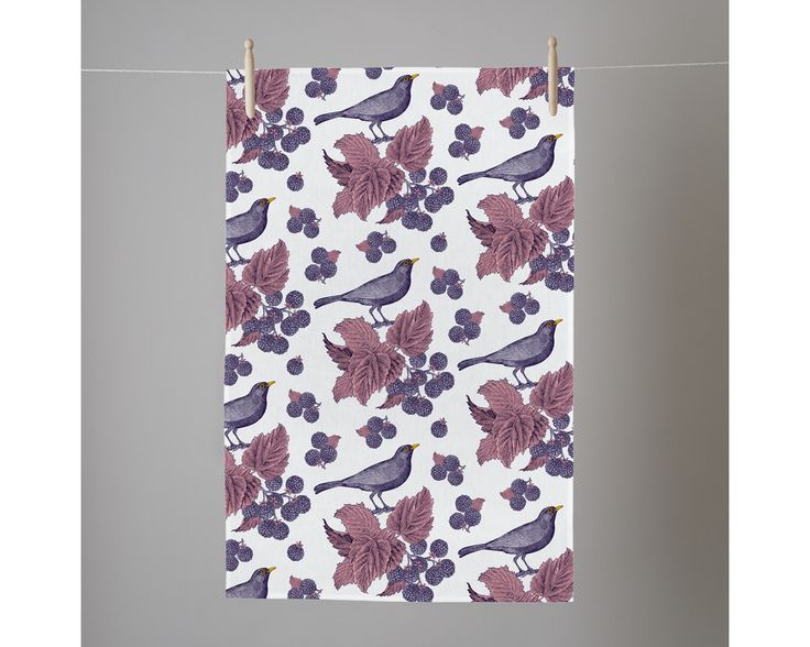 Blackbirds & Brambles Tea Towel by Thornback & Peel