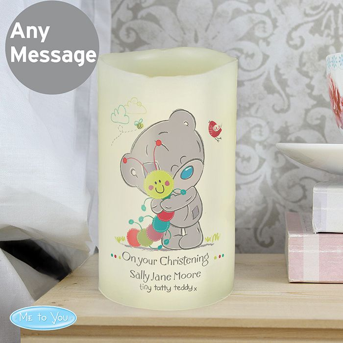 Personalised Tiny Tatty Teddy Cuddle Bug Nightlight LED Candle This LED candle comes in an organza bag. It can be personalised with 2 lines of text up to 20 characters per line. All personalisation is case sensitive and will appear as entered. £10.99