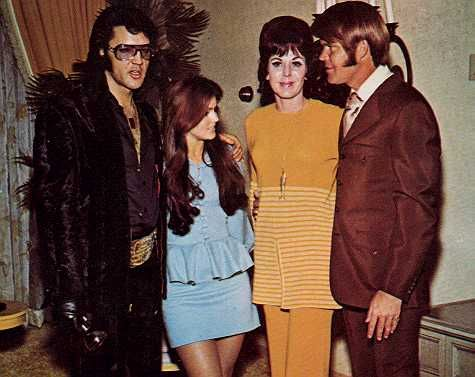Elvis and Priscilla with Glen and Billie Jean Campbell at George Klein's Wedding, at the International, in Elvis' suite, December 5, 1970.