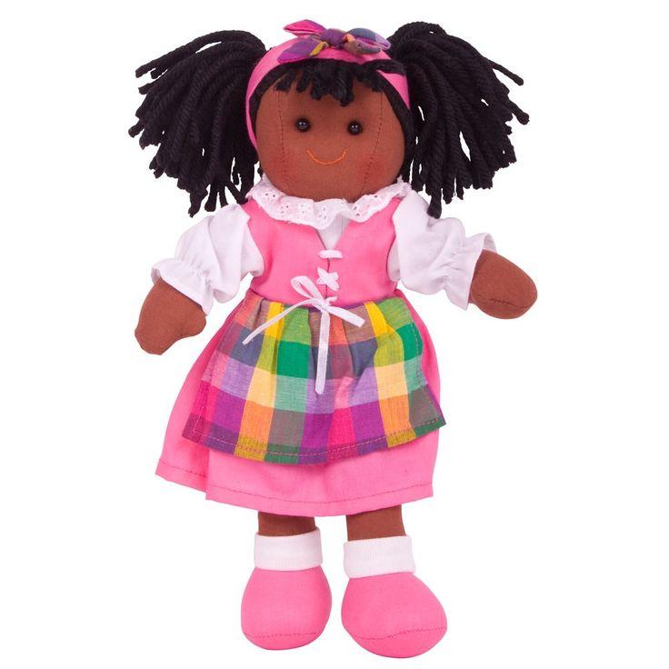 Stoffen pop Jess 28 cm  Maak kennis met Jess - een vrolijke en kleurrijke, traditionele pop. Jess draagt ??een outfit van hoge kwaliteit in een mooie roze en kleurrijk patch ontwerp, en zal vast een goede vriendin van uw kind worden.   Ideaal te combineren met onze poppenwagens, poppenbedjes en poppenstoelen.  Bigjigs poppen zijn leverbaar in 3 verschillende hoogtes - 28 cm, 35 cm en 38 cm. Alle poppen inspireren tot het spelen van rollenspellen.