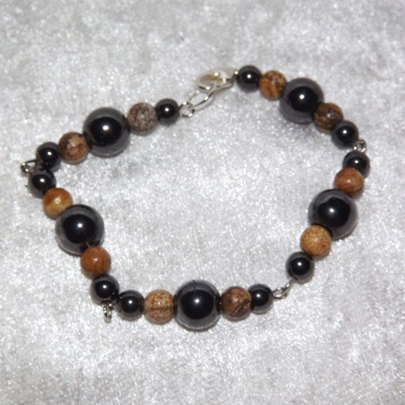 Bracelet  Magnetic Hematite & Picture Jasper  Free by KasumiCrafts