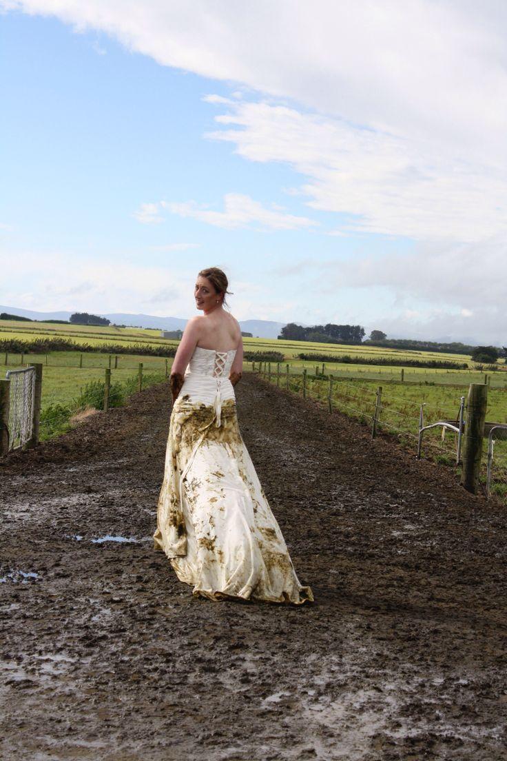 Walking the lane. Trash my wedding dress