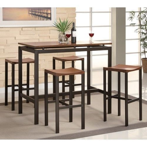 5 Piece Counter Height Dining Set Wood Metal Pub Table Chairs Dinner Room Nook #PerfectHomeSavings #Contemporary