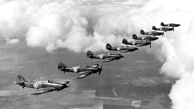 Hawker Hurricanes fly in formation. According to the history section of the Royal Air Force it's estimated that Hurricane pilots were credited with four-fifths of all enemy aircraft destroyed in th...