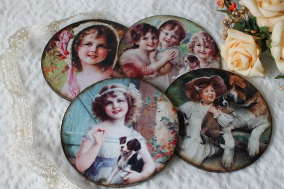 Decoupage cup coaster, round coaster,drink coaster cup,vintage style coasters,kitchen accessories, a gift for houswife,vintage children