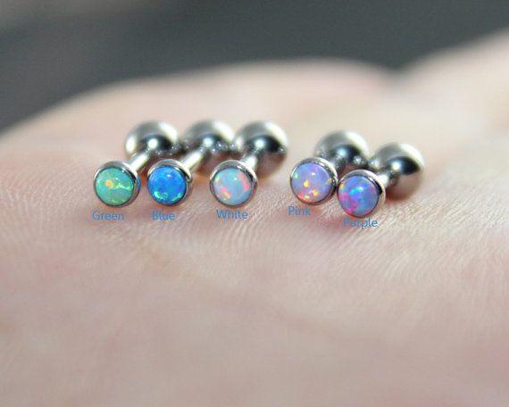 Dainty White Opal Earring Purple Fire Opal Stud by woodredrose