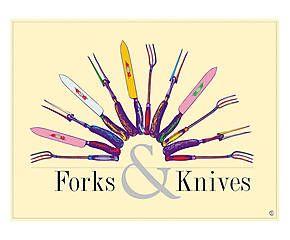 Stampa fine art su canvas con telaio in legno Forks & Knives - 80x60x4 cm