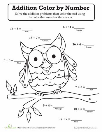 Owl ColorbyNumber Owl Moon School Theme Halloween