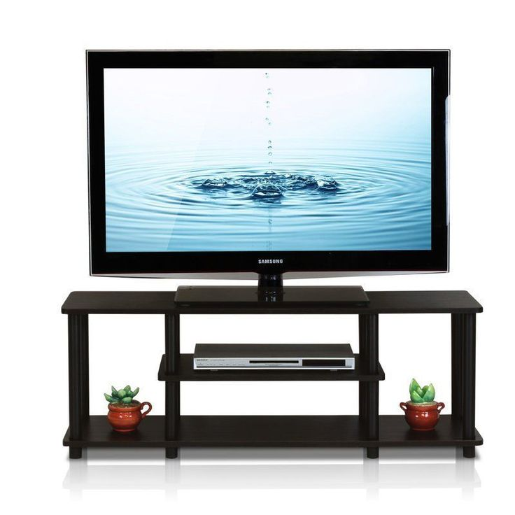 42 Inches Television Stand Walnut Black Shelves Wooden Living Room Furniture
