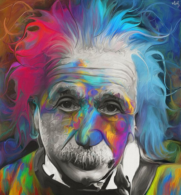 """Albert Einstein by *NickyBarkla on deviantART. """"For those asking, a bit of him is black and white to preserve the 'old fashion/of his time' type feel. I think he might have blended in too much to the background if he was all color.  The idea was to give him some color as most reference to Albert is black and white."""": Art, Inspiration, Nickybarkla, Color, Illustration, Albert Einstein, Artist, Paintings"""