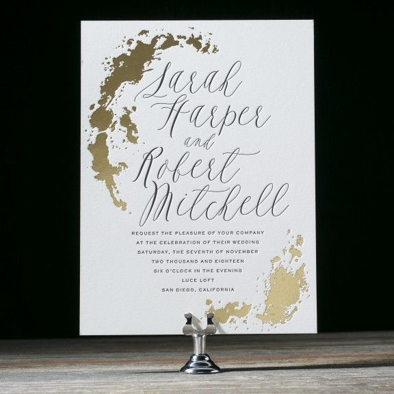 Lucaya is a unique wedding invitation with modern design elements and gold foil stamping. Marble watercolor save the dates help set this design apart.